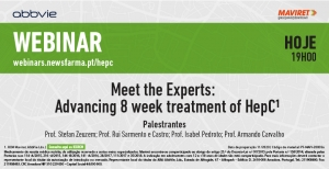 "Hoje, não perca o webinar ""Meet the Experts: Advancing 8-week treatment of HepC"""